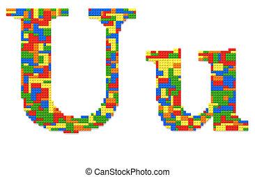 brief, u, gebouwde, van, de bakstenen van het stuk speelgoed, in, willekeurig, toevallig, kleuren