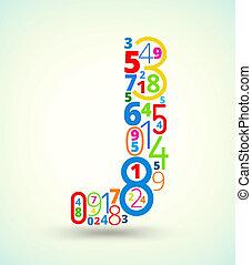brief, vector, j, gekleurde, lettertype, getallen