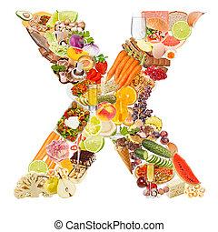 brief x, gemaakt, van, voedingsmiddelen