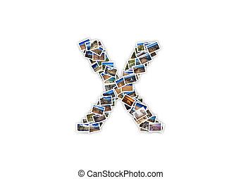 brief x, uppercase, lettertype, vorm, alfabet, collage, gemaakt, van, mijn, best, landscape, photographs., versie, 1.