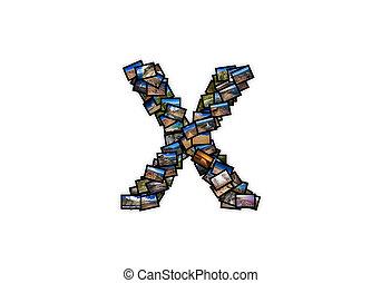 brief x, uppercase, lettertype, vorm, alfabet, collage, gemaakt, van, mijn, best, landscape, photographs., versie, 2.