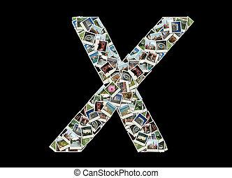 """brief, """"x""""collage, van, reizen, foto's"""