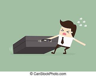 briefcase., 巨大, working., 懸命に, ビジネスマン, のろのろと過ぎる