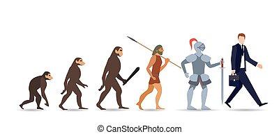 briefcase., 視覚化, 進化, 発展, サル, カラフルである, 平ら, プロセス, 緩やかである, ベクトル, スーツ, 霊長類, イラスト, ∥あるいは∥, 届く, 開発, 人間, 服を着せられる, ビジネスマン, 漫画, stages.