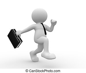 Briefcase - 3d people - human character with a briefcase. 3d...
