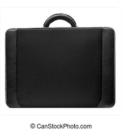 A standard, default black briefcase with handle at top isolated on a pure white background.