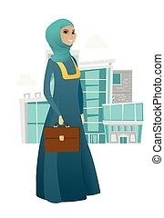 briefcase., affari donna, presa a terra, musulmano