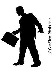 briefcase., af)knippen, zakelijk, op, wandelende, black , white., path., man