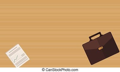 Briefcase and business reports over wooden background HD...