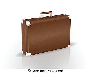 Brown briefcase isolated on white vector illustration