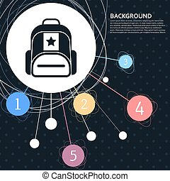 Briefcase, case, bag icon with the background to the point and  infographic style. Vector