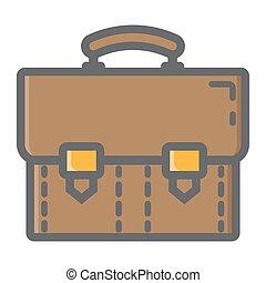 Briefcase colorful line icon, business portfolio