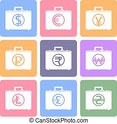 Briefcase flat icons with currency symbols
