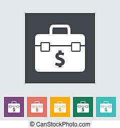 Briefcase flat single icon.