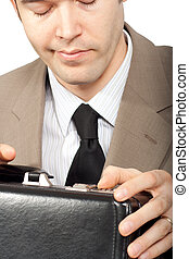 briefcase., gros plan, essayer, ouvert, homme