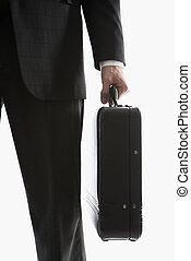 briefcase., hombre de negocios, tenencia