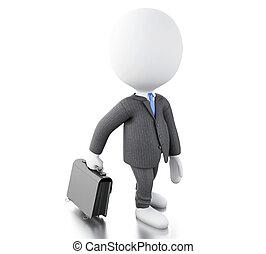 briefcase., hvid, hans, 3, folk