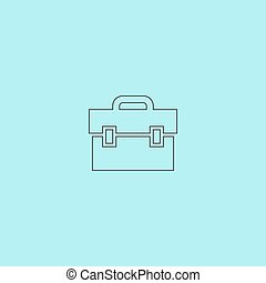 Briefcase. Simple outline flat vector icon isolated on blue background