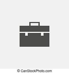 Briefcase icon in black color. Vector illustration eps10