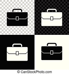 Briefcase icon isolated on black, white and transparent background. Business case sign. Business portfolio. Vector Illustration