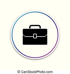 Briefcase icon isolated on white background. Business case sign. Circle white button. Vector Illustration