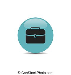Briefcase icon on blue bubble and white background