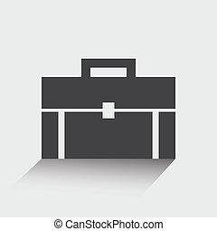 Briefcase icon, portfolio, flat design. Vector illustration