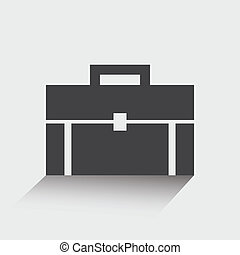 Briefcase icon, portfolio, flat design. Vector illustration
