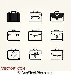 Briefcase icon vector illustration in flat design style