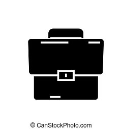 briefcase icon, vector illustration, black sign on isolated background