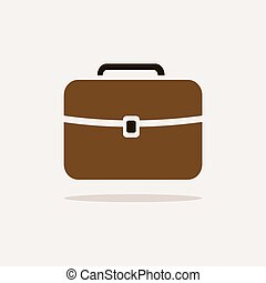 Briefcase icon with color and shadow on beige background