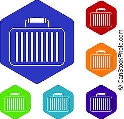 Briefcase icons set hexagon
