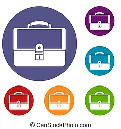 Briefcase icons set in flat circle reb, blue and green color...