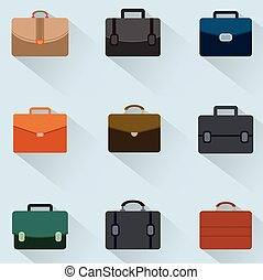 Briefcase icons set on background