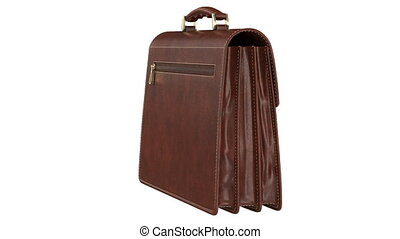 Briefcase leather classic, alpha channel. 3D animation loop