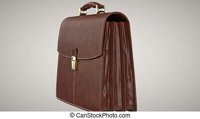 Briefcase leather classic, alpha channel. 3D animation