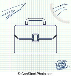 Briefcase line sketch icon isolated on white background. Business case sign. Business portfolio. Vector Illustration
