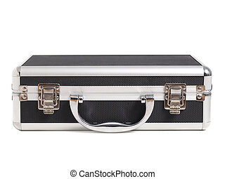 Briefcase lying on white.