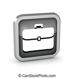 briefcase metallic icon on a white background