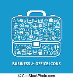 Briefcase office business concept of clock coffee money globe icons vector illustration