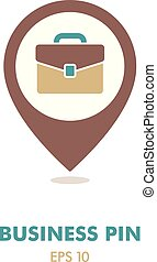 Briefcase outline pin map icon. Business sign