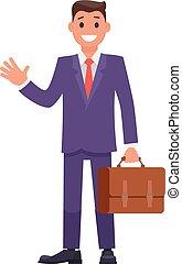 briefcase., płaski, litera, wektor, projektować, biznesmen
