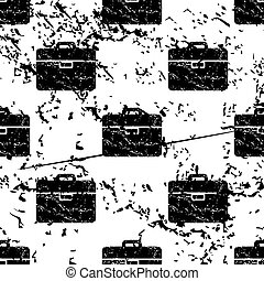 Briefcase pattern, grunge, monochrome