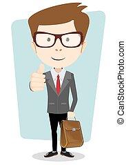 briefcase., pestanejo, negócio, abandone, casaco, polegares, sorrindo, caricatura, homem