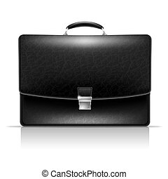 Briefcase - Realistic vector image of elegance leather black...