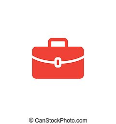 Briefcase Red Icon On White Background. Red Flat Style Vector Illustration.