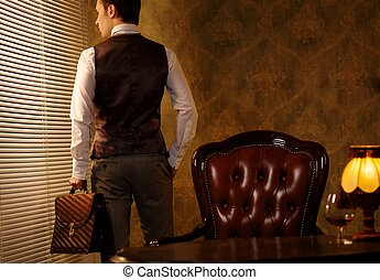 briefcase., retro, homme