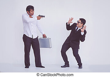 briefcase., rob, 届く, 銃, 人