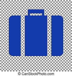 Briefcase sign illustration. Blue icon on transparent background