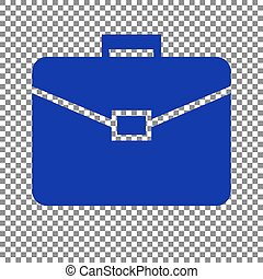 Briefcase sign illustration. Blue icon on transparent background